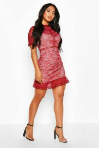 Womens Lace High Neck Short Sleeved Mini Ruffle Dress - red - 14, Red
