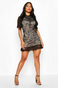 Womens Lace High Neck Short Sleeved Mini Ruffle Dress - black - 14, Black