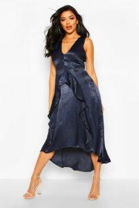 Womens Satin Ruflle Maxi Dress - navy - 16, Navy