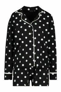 Womens Polka Dot Button Through PJ Short Set - black - 16, Black