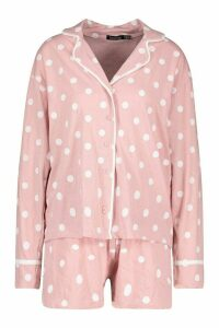 Womens Polka Dot Button Through PJ Short Set - pink - 16, Pink
