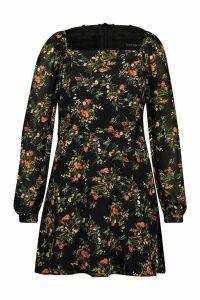 Womens Plus Floral Chiffon Puff Sleeve Skater Dress - black - 20, Black