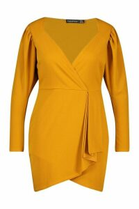 Womens Plus Draped Sleeve Wrap Dress - yellow - 20, Yellow
