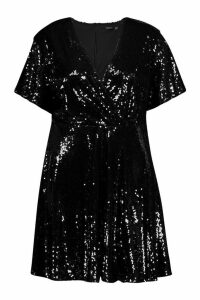 Womens Plus Sequin Wrap Sleeve Skater Dress - black - 20, Black