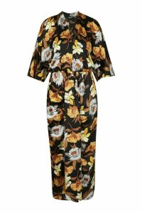 Womens Satin Floral Batwing Midaxi Dress - black - 16, Black