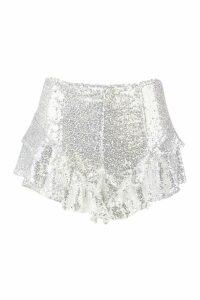 Womens Sequin Ruffle Hem Shorts - grey - 16, Grey