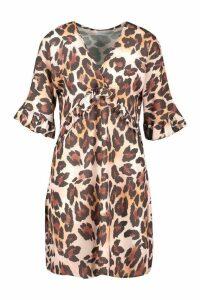 Womens Leopard Print Ruffle Smock Dress - brown - 18, Brown
