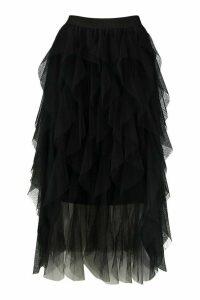Womens Layered Tulle Midi Skirt - black - 14, Black