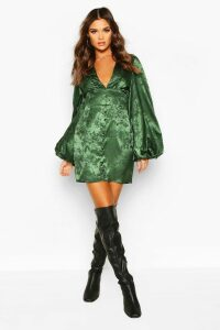 Jaquard Satin Plunge Extreme Blouson Sleeve Mini Dress - green - 8, Green
