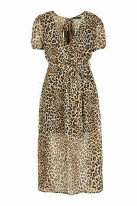 Womens Leopard Print Open Back Tie Waist Midaxi Dress - multi - 14, Multi