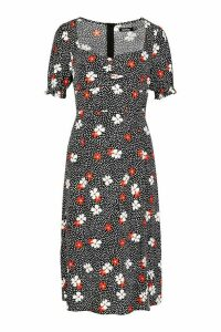 Womens Floral Spot Sweetheart Neck Midi Dress - black - 16, Black