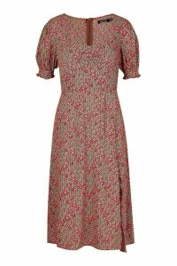 Womens Floral Geo Print Sweetheart Neck Midi Dress - brown - 16, Brown