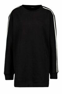 Womens Crewe Neck Side Stripe Sweatshirt Dress - black - 12, Black