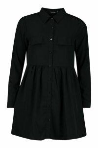 Womens Shirt Smock Dress - black - 16, Black