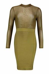 Womens High Neck Mesh Bandage Bodycon Dress - green - 12, Green