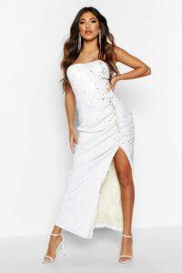 Womens Sequin Cupped Rouche Split Maxi Dress - white - 16, White