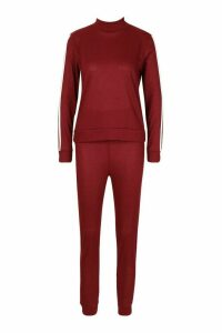 Womens Rib Side Stripe Top And Jogger Co-ord - red - 14, Red