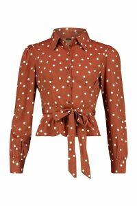 Womens Polka Dot Tie Waist Puff Sleeve Shirt - brown - 14, Brown