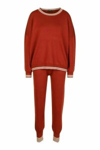Womens Sports Stripe Knitted Set - brown - M, Brown