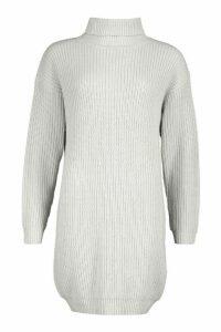 Womens Roll Neck Fisherman Jumper Dress - grey - M, Grey