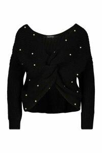 Womens Petite Pearl Detail Twist Front Jumper - black - M, Black