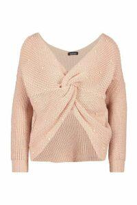 Womens Petite Pearl Detail Twist Front Jumper - pink - M, Pink