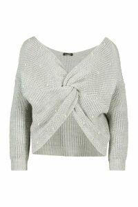 Womens Petite Pearl Detail Twist Front Jumper - grey - M, Grey