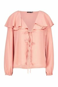 Womens Woven Cape Detail Tie Front Blouse - pink - 16, Pink