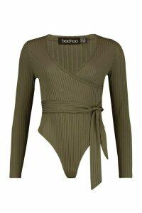 Womens Rib Wrap Tie Waist Bodysuit - green - 16, Green