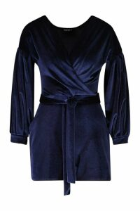 Womens Bardot Wrap Front Velvet Playsuit - navy - 16, Navy