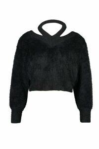 Womens Cut Out Shoulder Fluffy Knit Jumper - black - L, Black