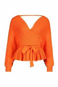 Womens Petite Wrap Tie Waist Peplum Knitted Jumper - orange - 14, Orange