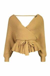 Womens Petite Wrap Tie Waist Peplum Knitted Jumper - beige - 8, Beige