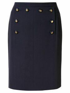 Chanel Pre-Owned double-fastened high rise skirt - Blue