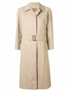Burberry Pre-Owned three-quarter sleeves midi rain coat - Brown