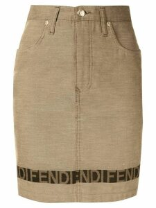 Fendi Pre-Owned logo strap fitted skirt - Brown