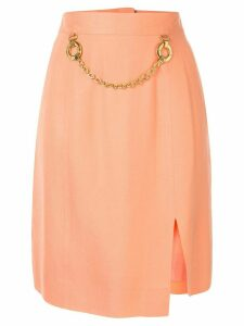 Céline Pre-Owned chain embellished straight skirt - ORANGE