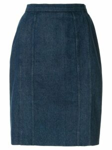 Chanel Pre-Owned straight denim skirt - Blue