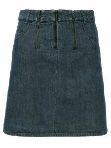 Chanel Pre-Owned triple-zipper straight denim skirt - Blue