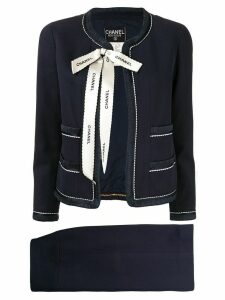 Chanel Pre-Owned bow detail skirt suit - Blue