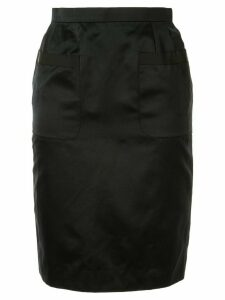 Chanel Pre-Owned silk 1995 front pockets pencil skirt - Black