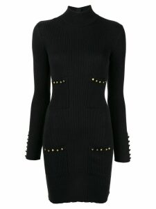 Chanel Pre-Owned high neck ribbed knitted dress - Black