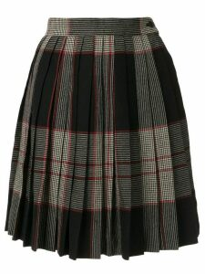 Yves Saint Laurent Pre-Owned plaid pleated skirt - Black