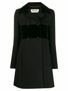 Yves Saint Laurent Pre-Owned velvet trim coat - Black