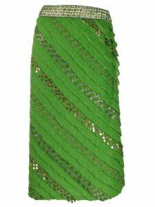 Fendi Pre-Owned 1990s eyelet embellished straight skirt - Green