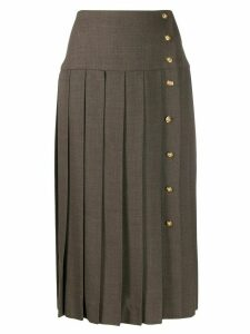 Chanel Pre-Owned 1990s off-centred buttons pleated skirt - Brown