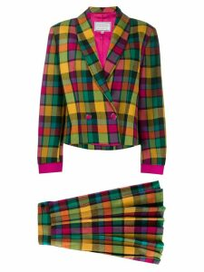 Versace Pre-Owned 1980s checked skirt and jacket set - Yellow