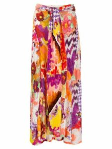 John Galliano Pre-Owned 1990s floral flared midi skirt - PINK