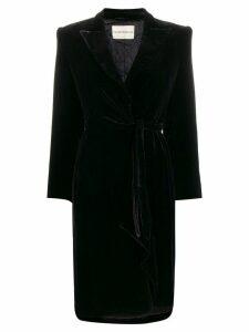 Giorgio Armani Pre-Owned 1990s velvet effect tied coat - Black