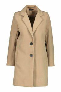 Womens Petite Button Detail Camel Duster Coat - beige - 6, Beige